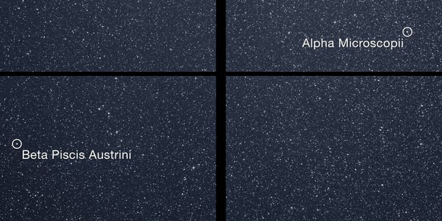 The Transiting Exoplanet Survey Satellite (TESS) captured this square of stars in the southern sky with its first camera during one 30-minute period on Tuesday, Aug. 7. Bright objects are labeled.