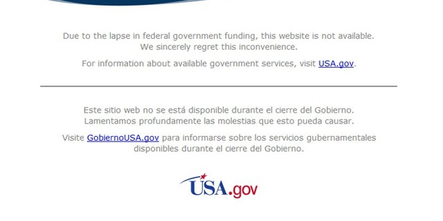 The websites for several major government agencies has been replaced with this simple disclaimer, which has some critics scratching their heads.