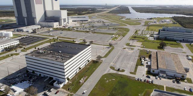 Launch Complex 39 surrounding areas are seen during an aerial survey of NASA's Kennedy Space Center in Florida on September 12, 2017.