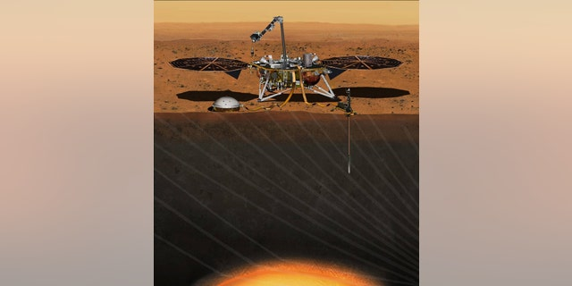 llustration of NASA's Interior Exploration using Seismic Investigations, Geodesy and Heat Transport (InSight)
