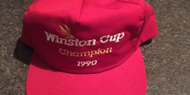 A hat similar to what Dale Earnhardt was wearing after winning the 1990 Winston Cup.