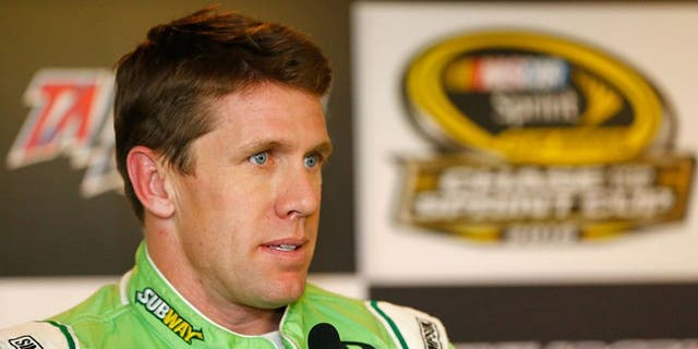 TALLADEGA, AL - OCTOBER 21: Carl Edwards, driver of the #19 Subway Toyota, holds a press conference after practice for the NASCAR Sprint Cup Series Hellmann's 500 at Talladega Superspeedway on October 21, 2016 in Talladega, Alabama. (Photo by Jonathan Ferrey/NASCAR via Getty Images)