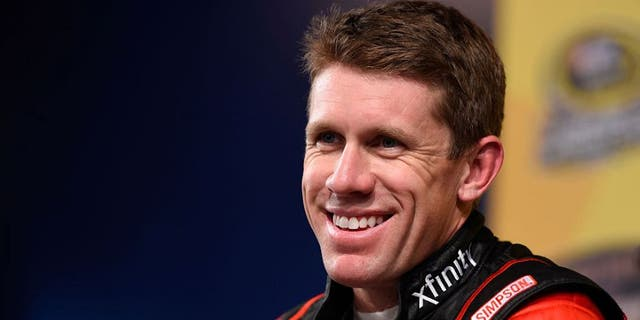 KANSAS CITY, KS - OCTOBER 14: Carl Edwards, driver of the #19 Xfinity Toyota, holds a press conference after practice for the NASCAR Sprint Cup Series Hollywood Casino 400 at Kansas Speedway on October 14, 2016 in Kansas City, Kansas. (Photo by Josh Hedges/Getty Images)