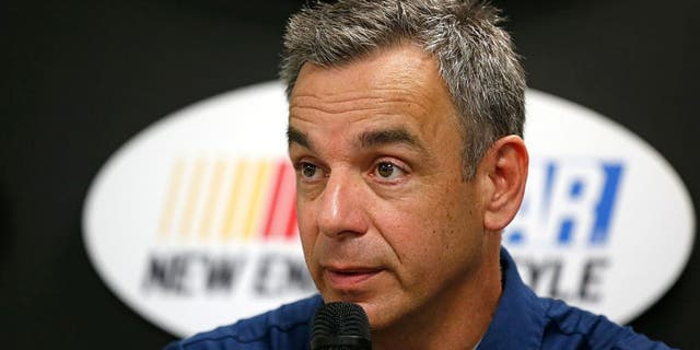 LOUDON, NH - JULY 15: Doug Duchardt, general manager at Hendrick Motorsports, speaks during a press conference prior to practice for the NASCAR Sprint Cup Series New Hampshire 301 at New Hampshire Motor Speedway on July 16, 2016 in Loudon, New Hampshire. Duchardt announced that Alex Bowman will replace Dale Earnhardt Jr. in New Hampshire due to concussion-like symptoms. (Photo by Todd Warshaw/NASCAR via Getty Images)