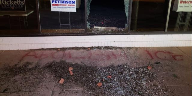 Police were notified of the vandalism shortly after 3 a.m. Tuesday.