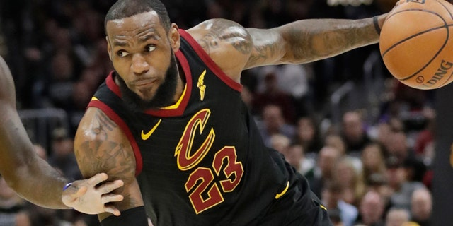 Cleveland Cavaliers star LeBron James drives against the Indiana Pacers during Game 7 of a first-round playoff series.