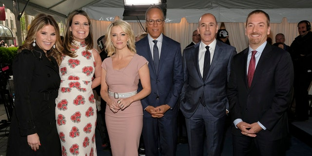 Left to right: Jenna Bush Hager, Savannah Guthrie, Megyn Kelly, Lester Holt, Matt Lauer and Chuck Todd.