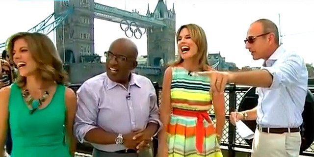 """""""Today"""" anchors share a laugh during the London games in 2012."""