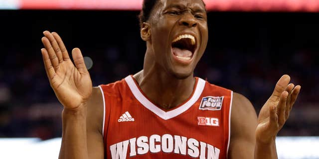 April 4, 2015: Wisconsin's Nigel Hayes reacts during the second half of the NCAA Final Four tournament college basketball semifinal game against Kentucky.