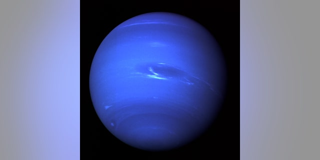 Neptune, imaged by the Voyager 2 probe in 1989.