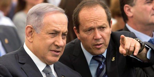 June 2, 2016: Israeli Prime Minister Benjamin Netanyahu and Jerusalem Mayor Nir Barkat during a special Cabinet meeting to mark Jerusalem Day in Ein Lavan spring located in the outskirts of Jerusalem.