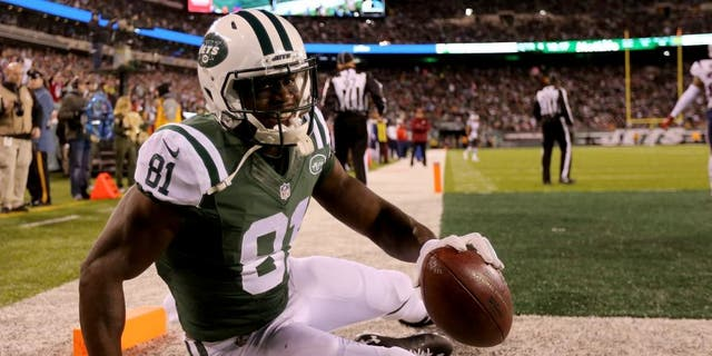 EAST RUTHERFORD, NJ - NOVEMBER 27: Quincy Enunwa #81 of the New York Jets celebrates after scoring a touchdown against the New York Jets during the fourth quarter in the game at MetLife Stadium on November 27, 2016 in East Rutherford, New Jersey. (Photo by Michael Reaves/Getty Images)