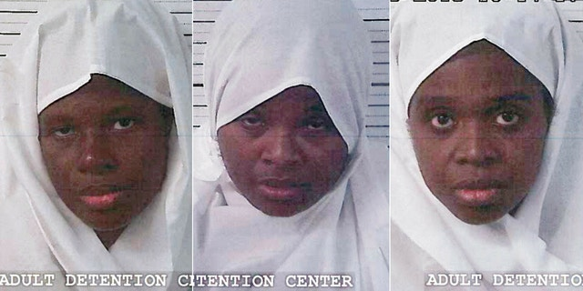 From the left, Subhannah Wahhaj, Jany Leveille and Hujrah Wahhaj were arrested on Friday. They are the mothers of the 11 malnourished children.