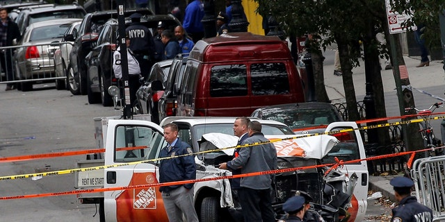 New York suffered its worst terror attack since 9/11 on Halloween of last year when a driver plowed a U-Haul truck into pedestrians and bikers on the West Side Highway, killing 8 people. Police here investigate the pickup truck used in the attack.
