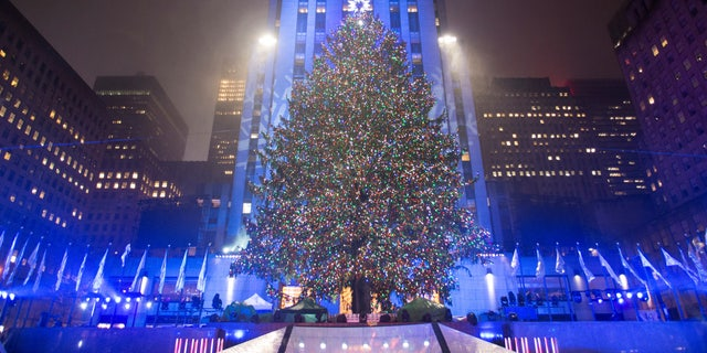 The Christmas tree stands lit after the lighting ceremony for the 84th annual Rockefeller Center Christmas