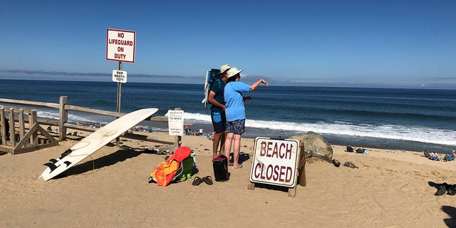 "Beachgoers at Newcomb Hollow Beach were greeted by signs reading ""Beach Closed"" following Saturday's attack."