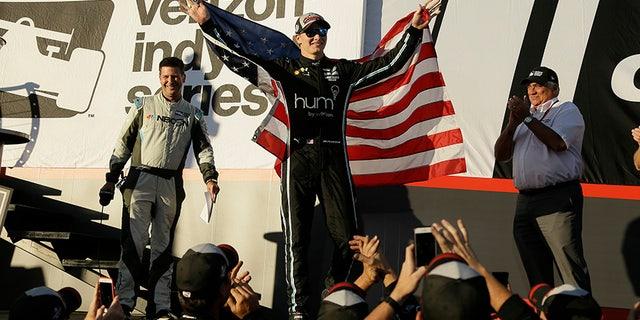 Josef Newgarden celebrates after winning the 2017 IndyCar championship in Sonoma, Calif.