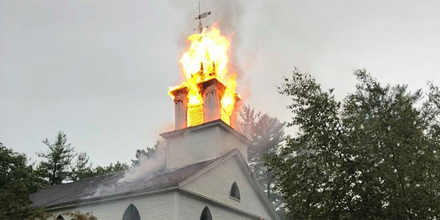 Lightning struck the steeple of the Crosswords Community Church in Bow, N.H. on Tuesday, destroying the steeple as storms passed through the area.