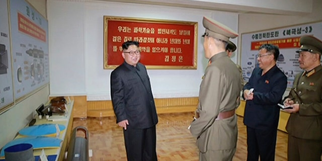 North Korean dictator Kim Jong Un visits the Chemical Material Institute of Academy of Defense Science at an undisclosed location.