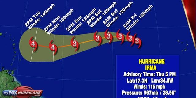 The forecast track of Hurricane Irma.