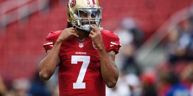 Oct 2, 2016; Santa Clara, CA, USA; San Francisco 49ers quarterback Colin Kaepernick (7) warms up prior to the game against the Dallas Cowboys at Levi's Stadium. Mandatory Credit: Kelvin Kuo-USA TODAY Sports