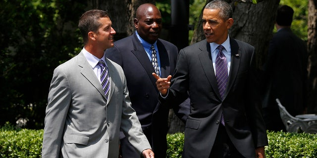 Harbaugh and Newsome were among those visiting the White House and President Obama after winning the Super Bowl in 2013.