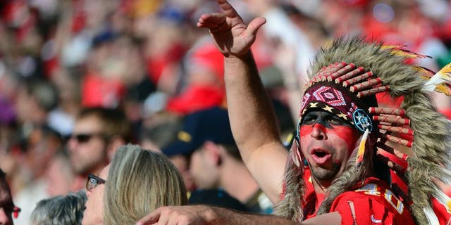 A Kansas City Chiefs fan cheers on his team during the second half against the Jacksonville Jaguars at Arrowhead Stadium. (Jeff Curry-USA TODAY Sports)