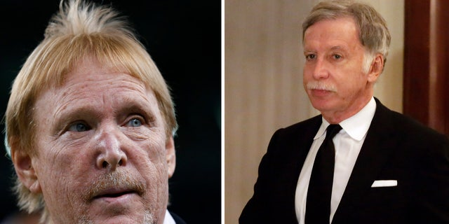 These photos show Oakland Raiders owner Mark Davis, left, and St. Louis Rams owner Stan Kroenke. Both teams, as well as the San Diego Charges, filed to relocate to Los Angeles Monday, Jan. 4, 2016. (AP)