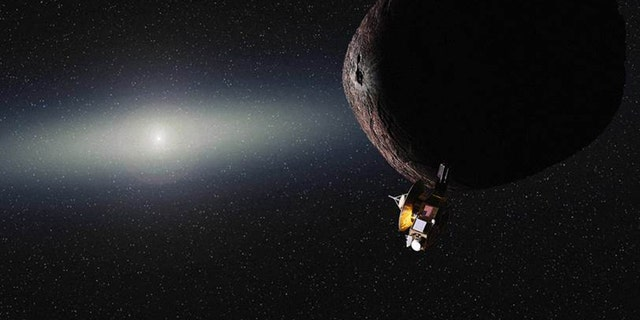 Artist's illustration of NASA's New Horizons spacecraft encountering a small Kuiper Belt object (KBO) beyond Pluto. The probe will fly by the KBO 2014 MU69 on Jan. 1, 2019, if NASA approves and funds a proposed