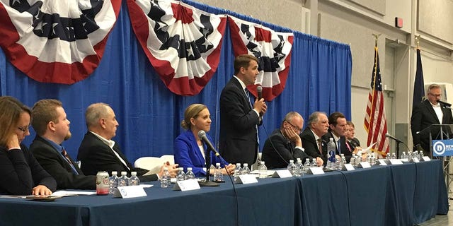 Democratic congressional candidates for New Hampshire's 1st District seat speak at an Aug. 30 forum in Manchester.