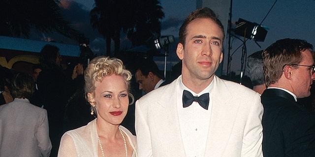 Nicolas Cage alongside his then wife, Patricia Arquette.