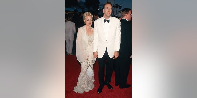Nicolas Cage alongside his then-wife, Patricia Arquette.