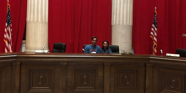 Nick Loeb and producer Cathy Allyn on the set of their upcoming film about the Roe v. Wade Supreme Court case.