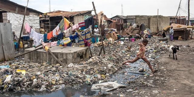 General view of poor sanitation in Ifelodun, Lagos, Nigeria, September 2016