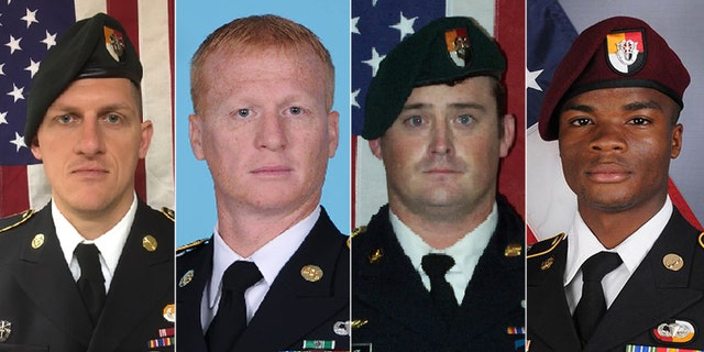 U.S. Special Forces Sgt. Bryan Black (L to R), U.S. Army Special Forces Sergeant Jeremiah Johnson, U.S. Special Forces Sgt. Dustin Wright and U.S. Special Forces Sgt. La David Johnson killed in Niger, West Africa on October 4, 2017.