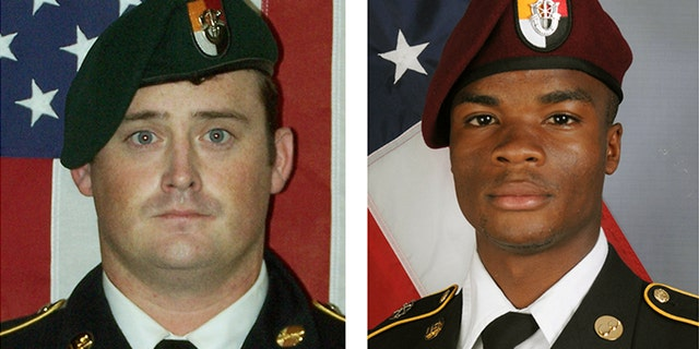 U.S. Special Forces Sgt. Dustin Wright, left, and U.S. Special Forces Sgt. La David Johnson were killed in Niger Oct. 4.