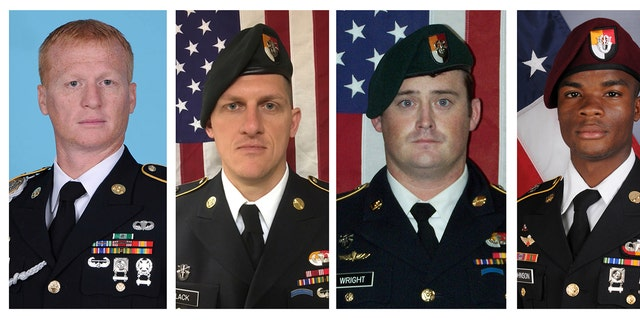 The four U.S. service members killed Oct. 4 in Niger were, from left, U.S. Army Special Forces Sgt. Jeremiah Johnson; U.S. Special Forces Sgt. Bryan Black; U.S. Special Forces Sgt. Dustin Wright; and U.S. Special Forces Sgt. La David Johnson