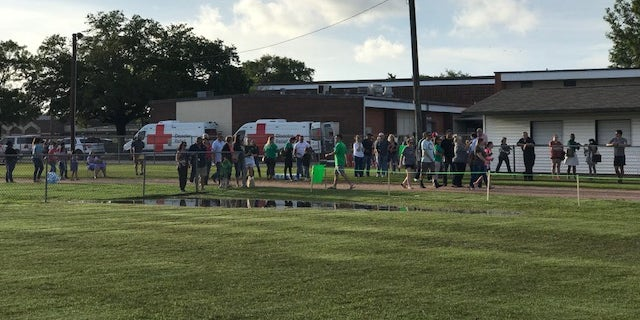 Hundreds gathered Wednesday evening at Santa Fe Junior High's football stadium for a community healing event after last week's deadly shooting.
