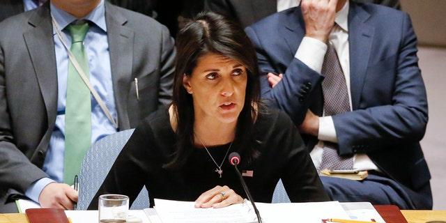 United Nations U.S. Ambassador Nikki Haley address a U.N. Security Council meeting on non-proliferation of weapons of mass destruction, Thursday Jan. 18, 2018 at U.N. headquarters. (AP Photo/Bebeto Matthews)