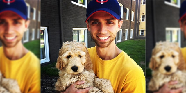 """Nina Hale account manager Connor McCarthy took """"fur-ternity leave"""" when he brought home Bentley, a goldendoodle puppy,"""