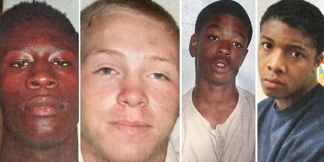 From Left to Right: Raymir Lampkin, Donovan Nickerson, Stephine Woodley, Michael Huggins, the four teens who police say attacked a guard, stole his car and fled from a youth detention facility in New Jersey.
