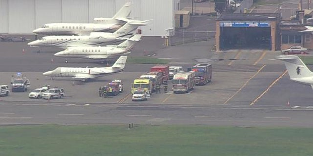Emergency vehicles swarmed Teterboro Airport in New Jersey after the plane was planning to make an emergency landing.
