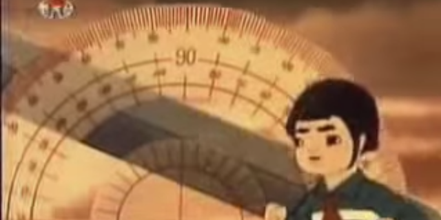 The show appears educational, showing the animated characters using a protractor to measure the angle to fire a missile.