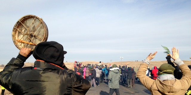 Protesters against the Dakota Access Pipeline are seen near Cannon Ball, N.D.