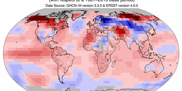 This image provided by The National Oceanic and Atmospheric Administration (NOAA) shows a map worldwide temperatures for the month of January, 2016. Earth's string of hottest months on record extends to nine straight with last month notching the hottest January. But NASA said January was even more unusual, breaking the record for having the most above normal temperature for any month.  (The National Oceanic and Atmospheric Administration via AP)