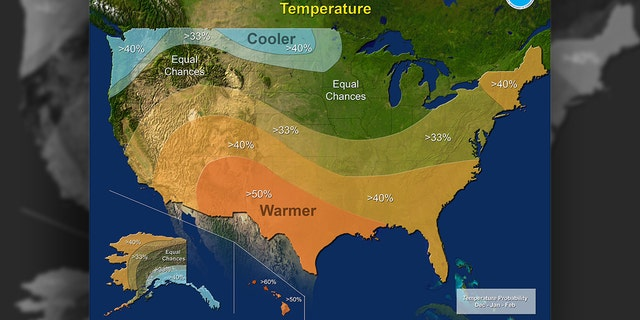 The 2017-18 Winter Outlook map for  temperature.