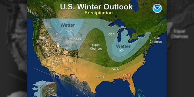 The 2017-18 Winter Outlook map for precipitation.