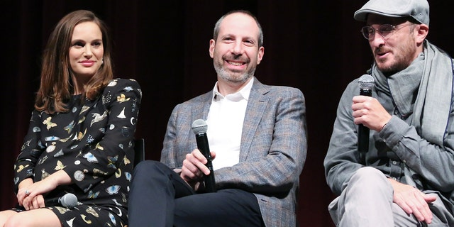 "(L-R) Natalie Portman, Noah Oppenheim and Darren Aronofsky attend a panel discussion following the Official Academy Screening of ""Jackie,"" hosted by the Academy of Motion Picture Arts and Sciences at MOMA on November 29, 2016 in New York City."