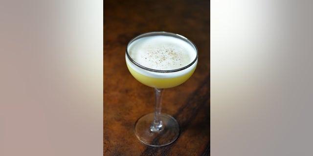 Pumpkin Flip served up in a martini glass.