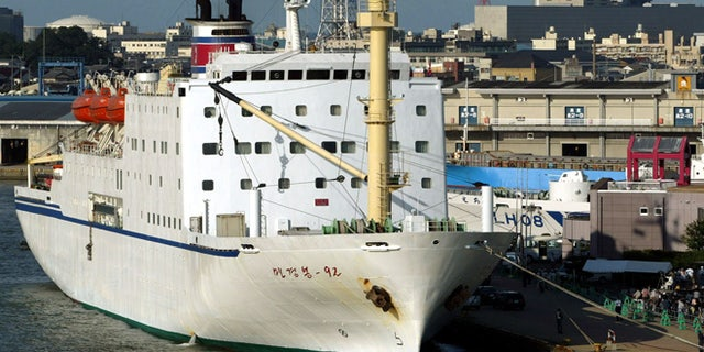 Sept. 4, 2003: North Korean ferry Mangyongbong-92 is at anchor in Niigata, northern Japan.